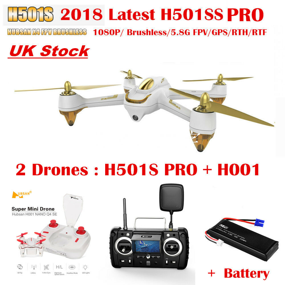 Hubsan H501S X4 Pro Drone FPV Brushless 1080P GPS Follow Me RC Quadcopter RTH Uk