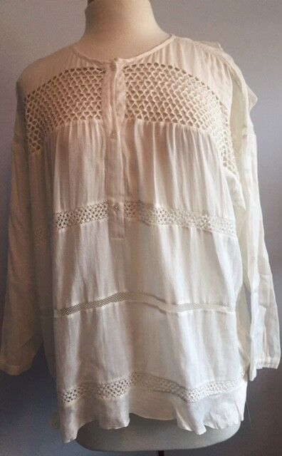 Isabel Marant Etoile SZ FR 42 US 10 White CHAY Crochet Tunic Shirt Top