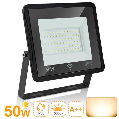 LED Fluter mit Bewegungsmelder IP66 Flutlicht Strahler 50W Warmweiß
