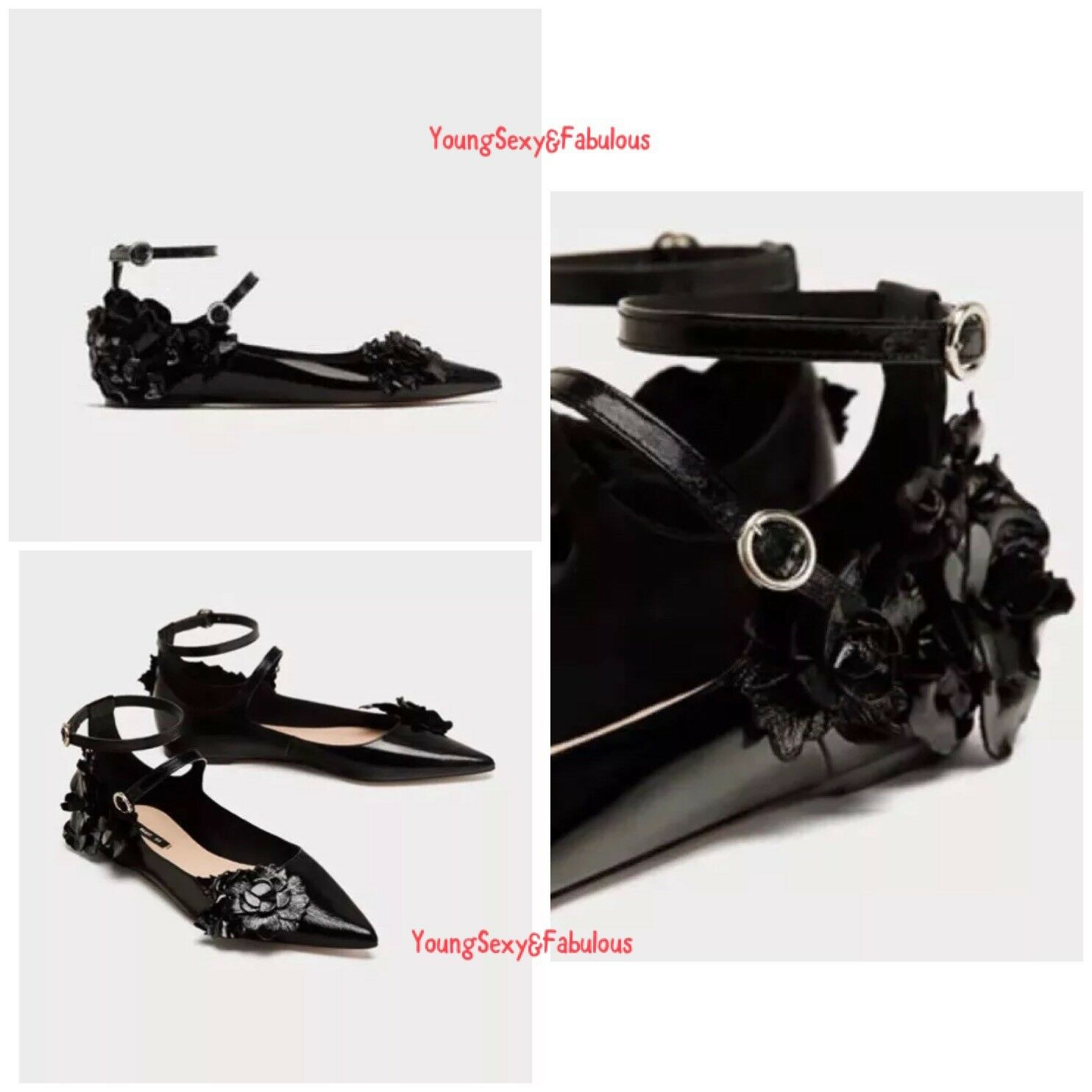 Zara Black Leather Ballerina Flat shoes With Flower Detail lace up shoes -5 38