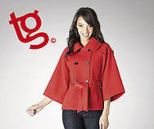 18 16 BNWT TG Ladies Red or Black Lined Cape Coat Jacket Size 8 14 12 10
