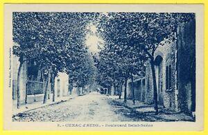 cpa-11-CUXAC-d-039-AUDE-Boulevard-SAINT-SAENS-Edition-MARTY-receveur-Buraliste