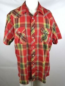 Rustler-X-Long-Tails-Pearl-Snap-Cowboy-Western-Shirt-Mens-Size-XL-Red-Plaid