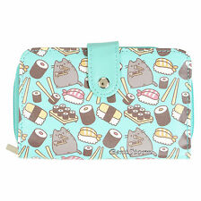 Pusheen Facebook Cat Susheen Mint Sushi Snap Flap Wallet Billfold Zipper Pouch