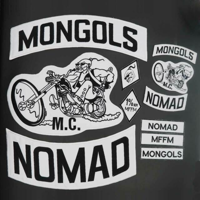 WHITE on BLACK Nomad Rocker Biker Motorcycle Club MC Patch Biker Vest jacket