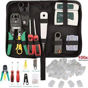 RJ45-Ethernet-Cable-Probador-arrugador-Stripper-Cortador-de-golpe-abajo-herramienta-Kit-De-Red