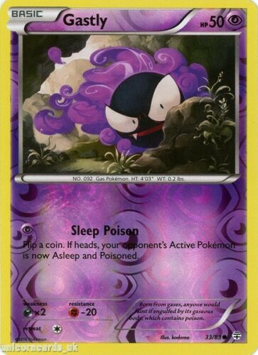 Generations 33//83 Gastly Reverse Holo Mint Pokemon Card