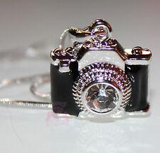 Black Enamel Miniature Camera Charm Clear Crystal Lens Photo Silver Necklace