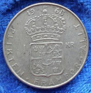 SWEDEN-silver-1-krona-1968-U-KM-826-Gustav-VI-Adolf-1950-73-Edelweiss-Coins