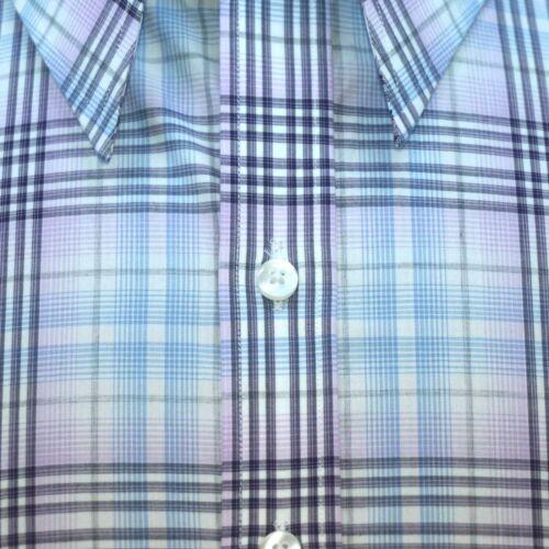 High collar shirt Mens Multi checks Long point collar 4 buttons Tall Neck Gents
