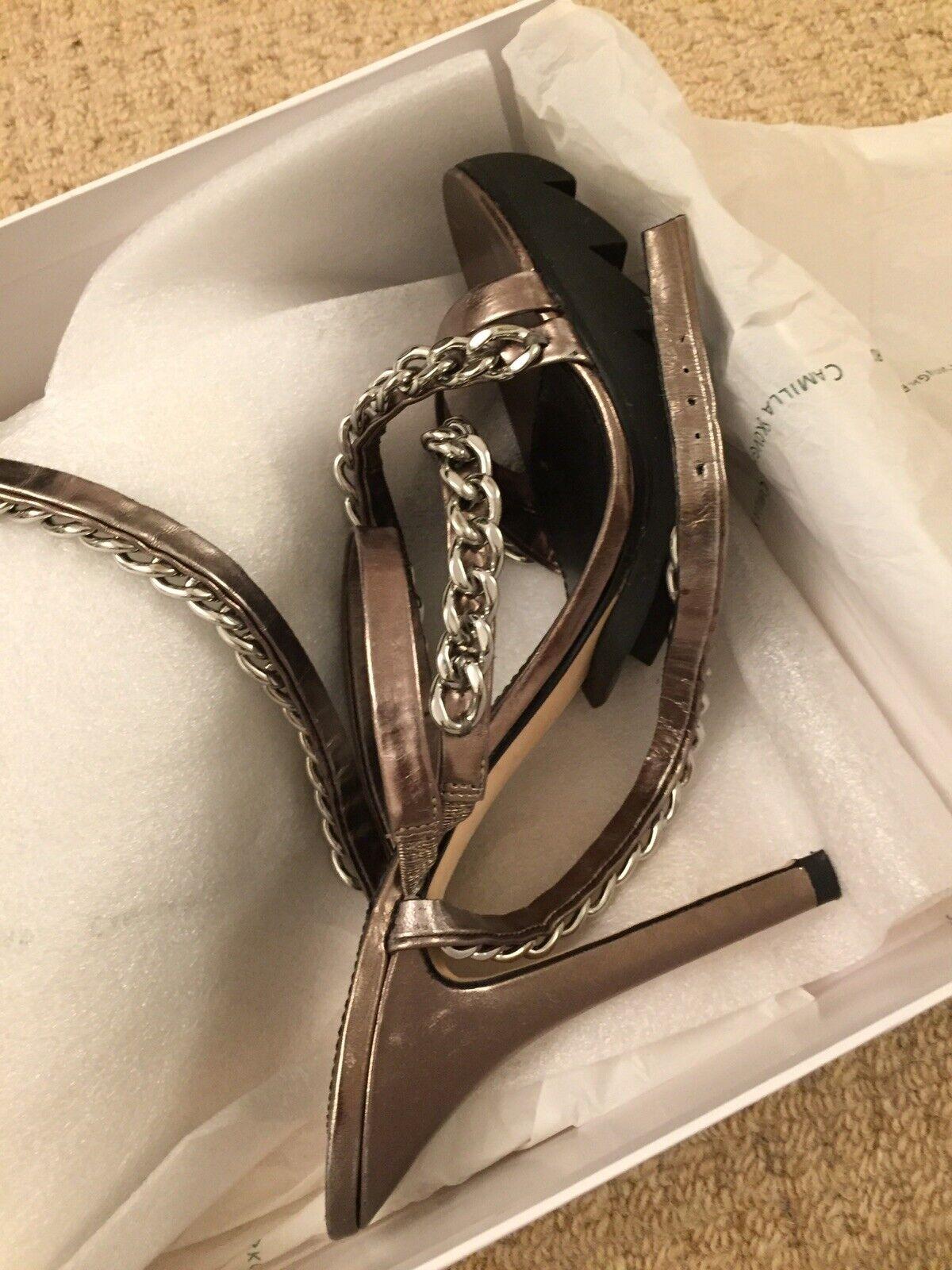 Camilla Skovgaard 39 Metallic Heels Silver Chain Rubber Saw Sole