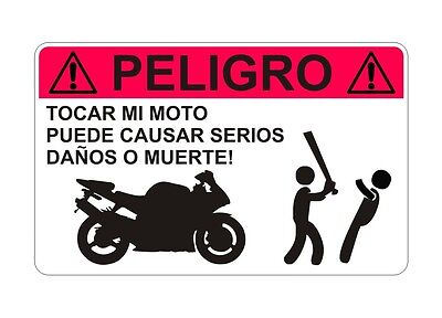 Do Not Touch Motorbike Motorcycle Warning ES Sticker Decal Graphic Vinyl Label