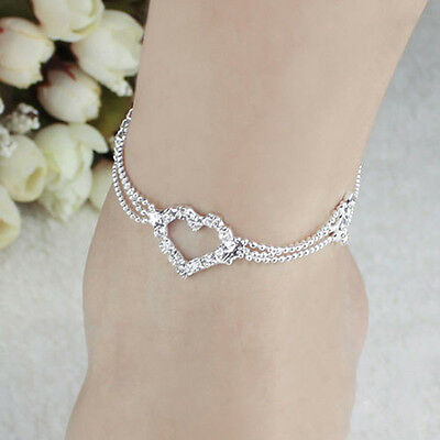 New Charm Silver Plated Bead Anklet Ankle Bracelet Chain Crystal Fashion Jewelry