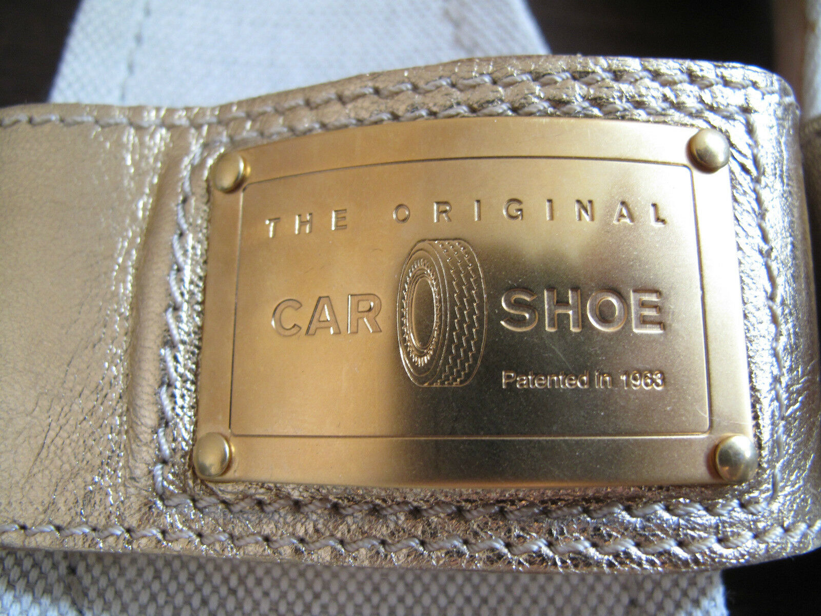 Original Car Shoe by Prada Pantoletten Sandalen 38 Echt Leder gold Gr 38 Sandalen NEU c21de1