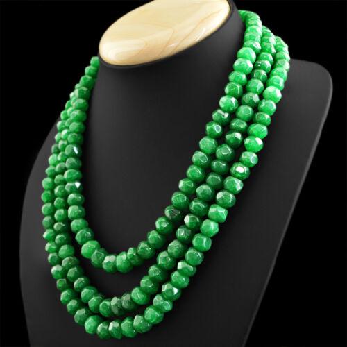 901.50 cts Earth mined riche vert émeraude 3 Strand Round Cut Perles Collier
