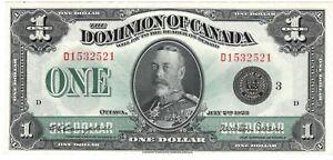 Dominion-of-Canada-AU-1-Dollar-1923-P-33n-DC-25n-Campbell-Sellar-KGV-Banknote