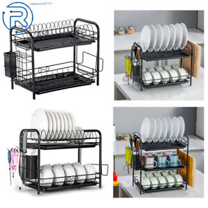 2/3 Tier Dish Drainer Holder Drying Rack Dish Rack Kitchen Storage Space Saver
