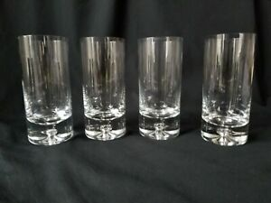 4-Block-Crystal-Highball-Glasses-Karlstadt-Pattern-Air-Bubble-Base-Tumblers-6-034