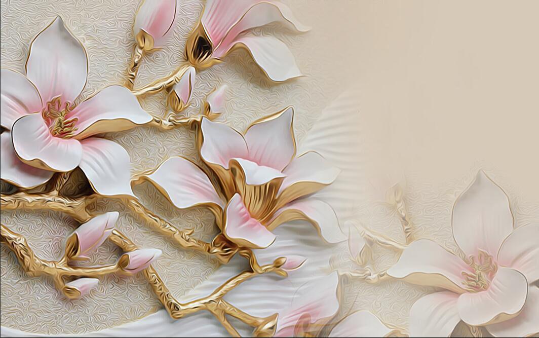 3D Flowers Golden sculpture Wall Paper Print Decal Wall Deco Indoor wall Mural