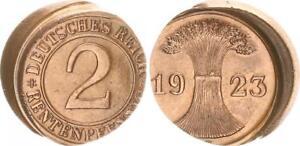Weimar 2 Renten Pfennig 1923 D Lack Coinage: 25% Dezentriert Vz-Prfr