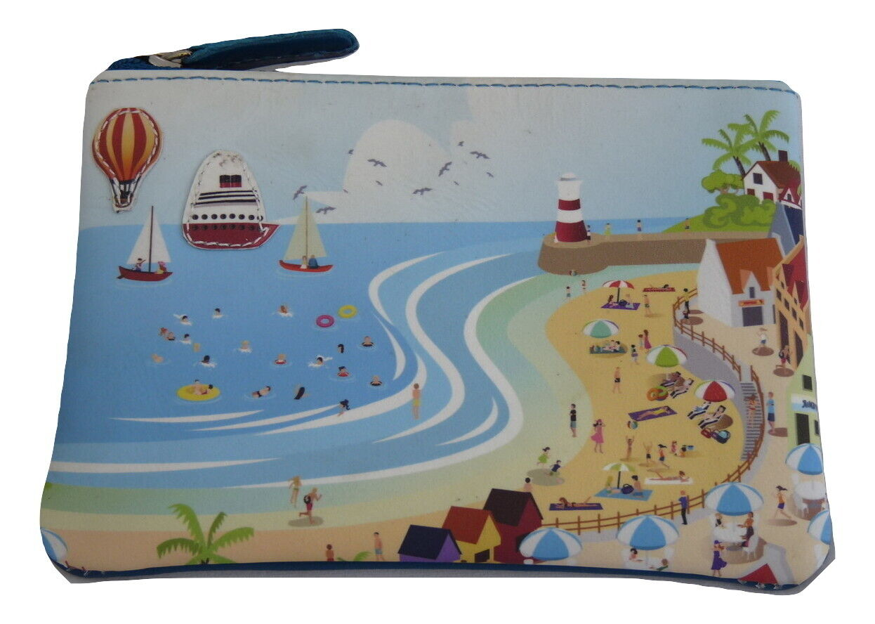 Luxury seaside holiday applique coin purse by Mala Leather premium leather