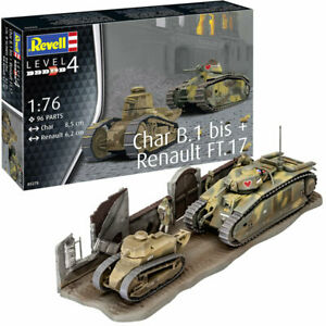 REVELL-Char-B-1-bis-amp-Renault-FT-17-1-76-Tank-Model-Kit-03278