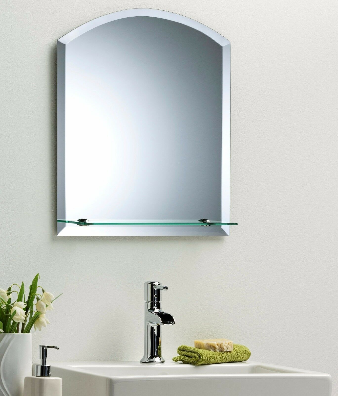 Bathroom wall mirror modern stylish arch with shelf and bevel frameless plain ebay Neue design bathroom mirror