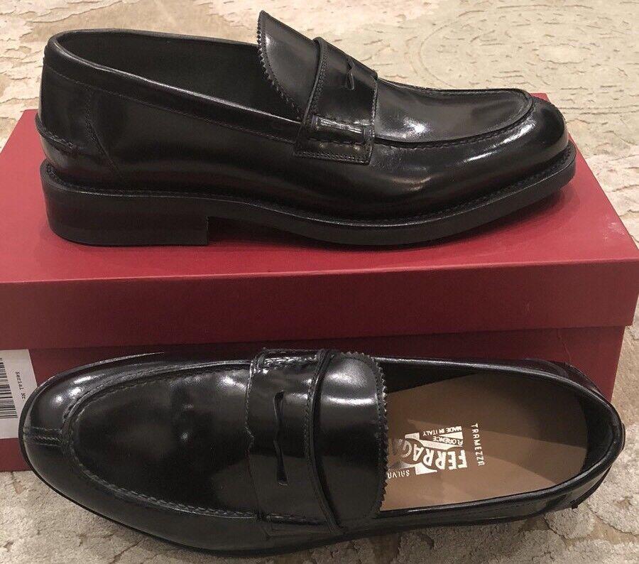 975 Nouveau Salvatore Ferragamo tramezza Homme Chaussures Noires Taille 7 Us 6 Uk 40 UE
