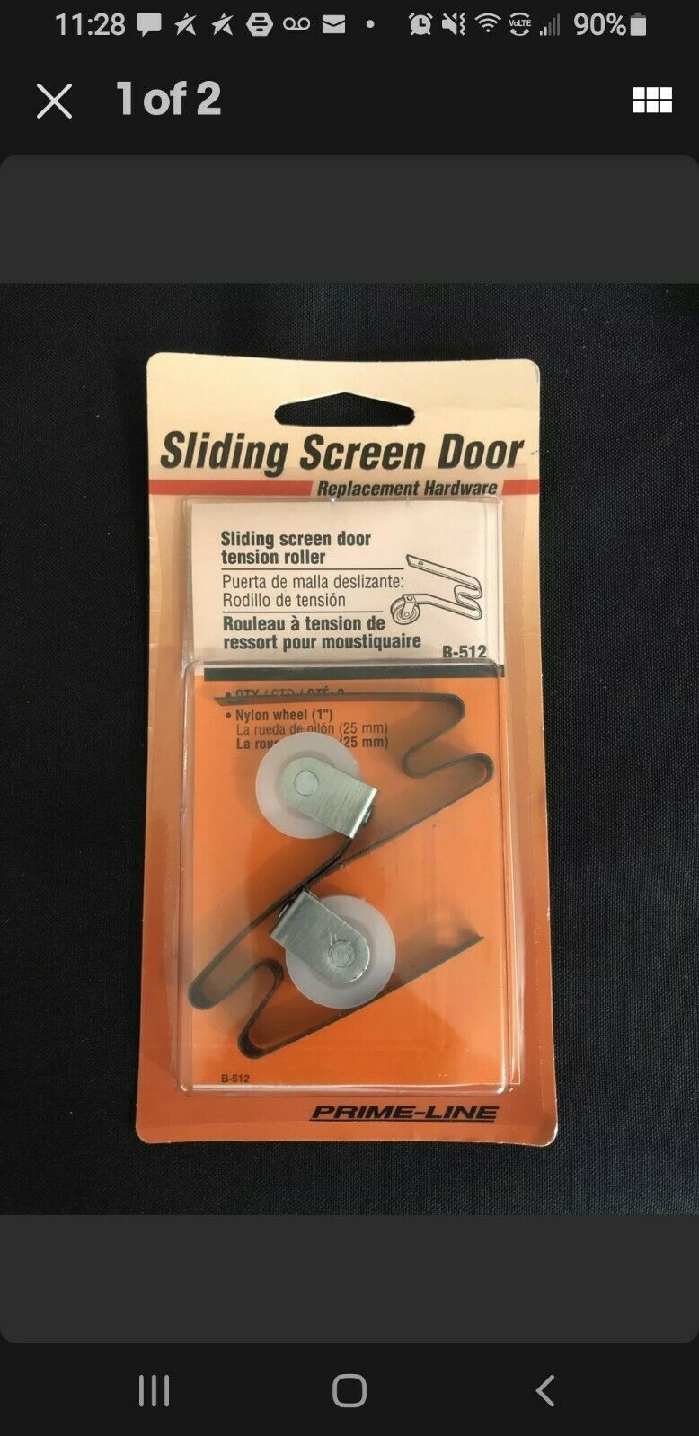 Prime-Line Products B 552 Screen Door Roller with 1-Inch Nylon WheelPack of 2