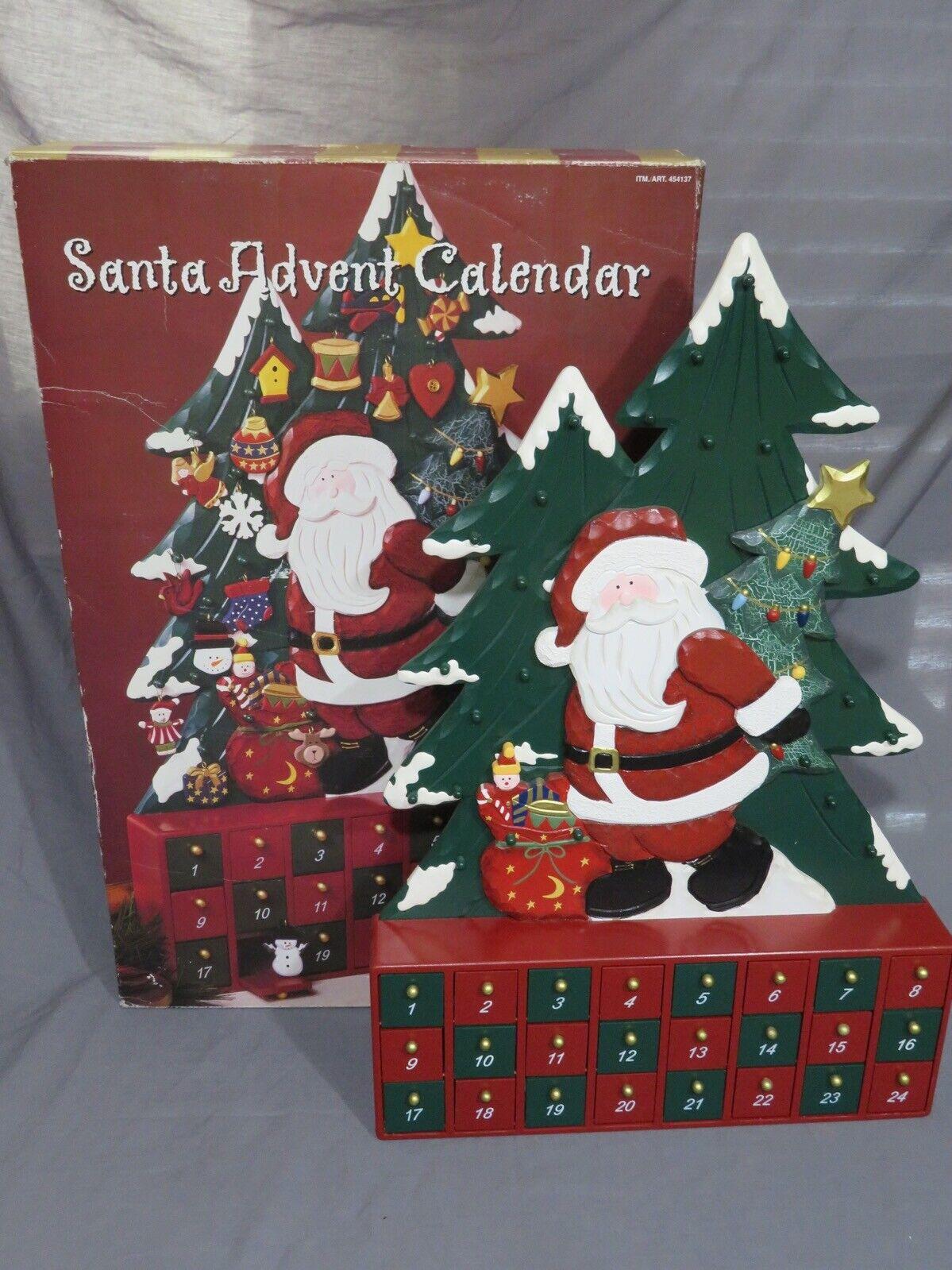 Groß Weihnachtsmann Adventskalender Holz Weihnachten Display Komplett mit 24