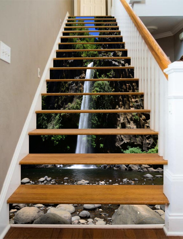 3D Waterfall 425 treppe aufsteher dekoration foto Mural Vinyl abziehbild wandpaper UK