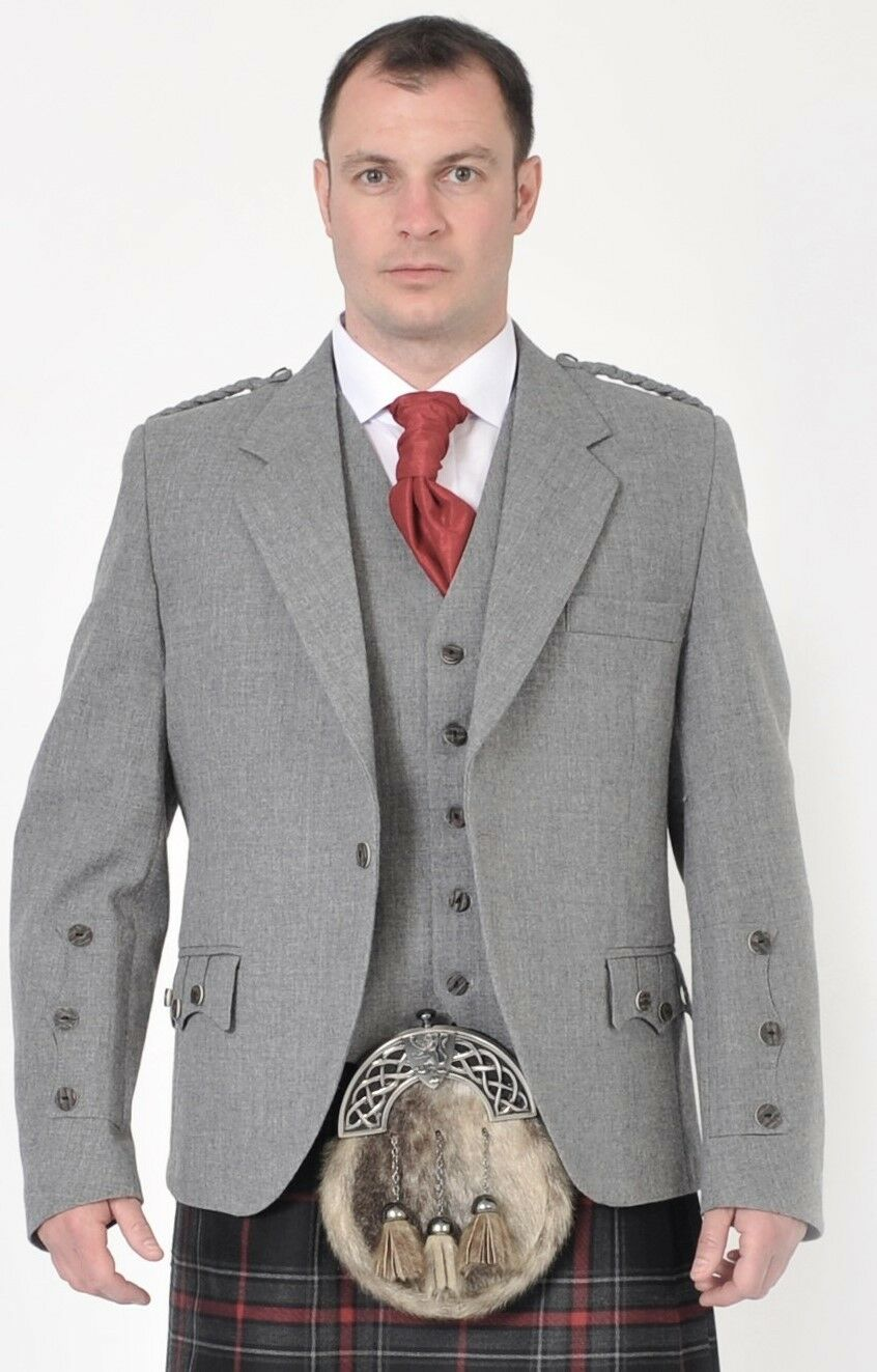Light Grey Crail Kilt Jacket & Vest Waistcoat Set - Limited Sizes to clear out
