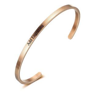 Image Is Loading Custom Name Bracelets Engrave Id Bangle Personalized Bangles