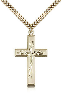 Gold-Filled-Cross-Necklace-For-Men-On-24-034-Chain-30-Day-Money-Back-Guarantee