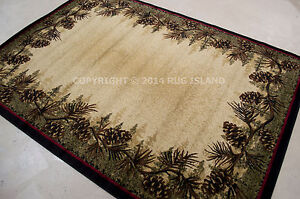 Lodge-Cabin-Rustic-Forest-Pinecone-Area-Rug-FREE-SHIPPING