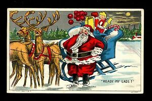 Christmas Santa Vintage linen postcard Red Suit w/ reindeer sleigh toys 1909