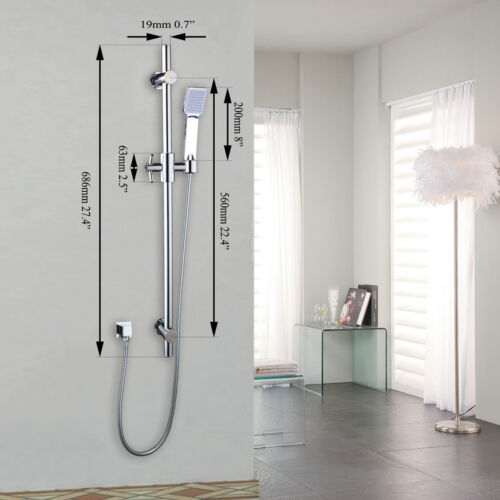 Stainless Steel Bathroom Shower Riser Rail Sliding Bar/&Head 1.5m Hose Set Chrome