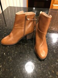 Anthropologie-Lien-Do-Brown-Leather-Booties-Size-8-New