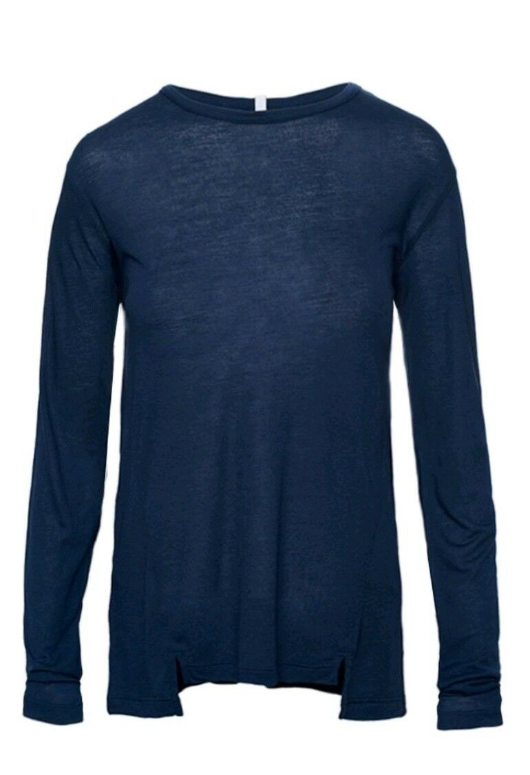 Lot 78 Cashmere Blend LongSleeve Tee T-Shirt bluee Stone Size Medium RRP