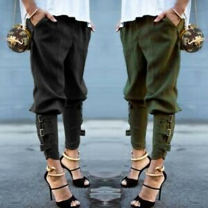 Mode-Femme-Taille-elastique-Military-Cargo-Casual-Loose-Long-Pantalons-Pants