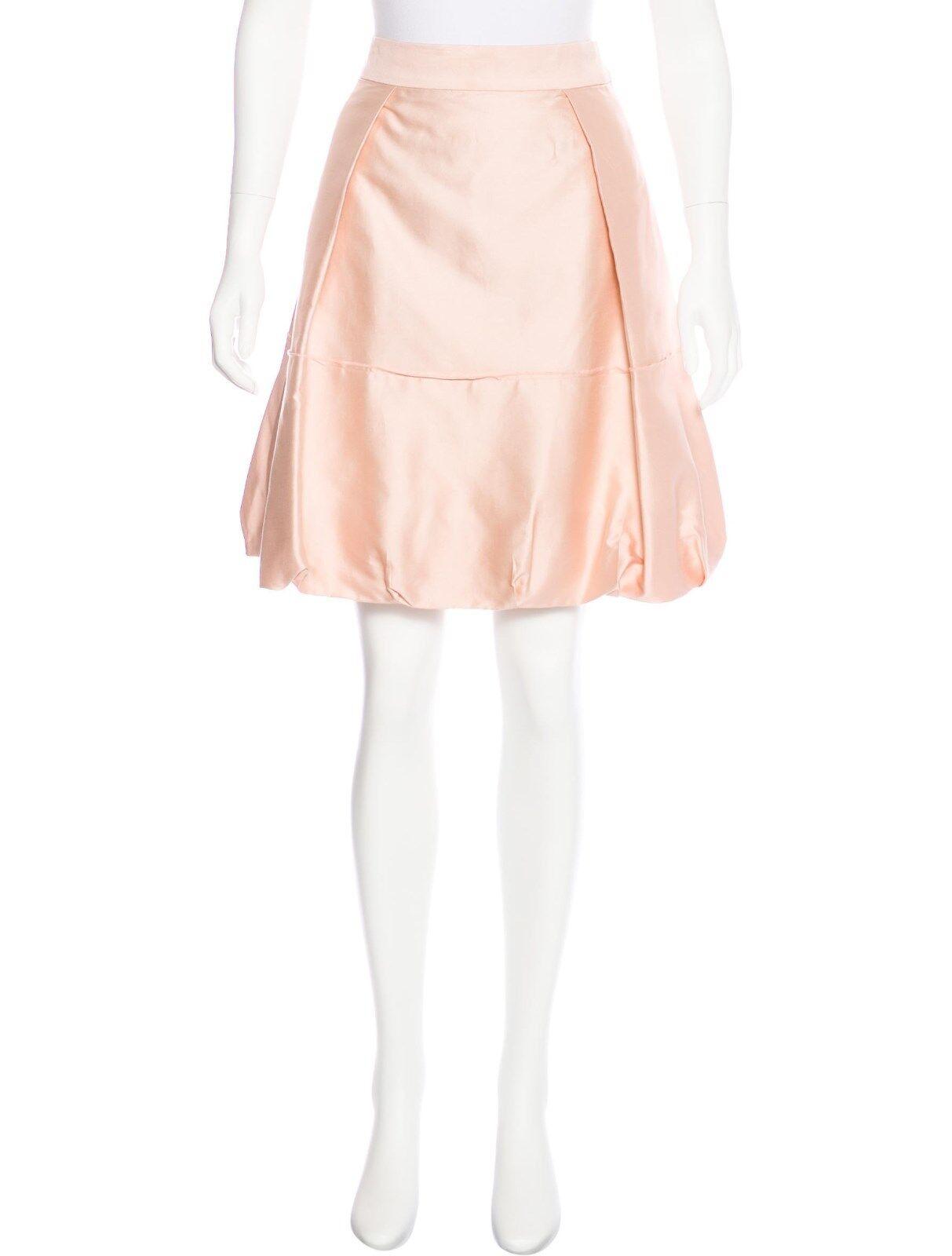 ANTHROPOLOGIE - LELA pink Tulip Satin A - Line Skirt Pink Sachet 10 M USED  489