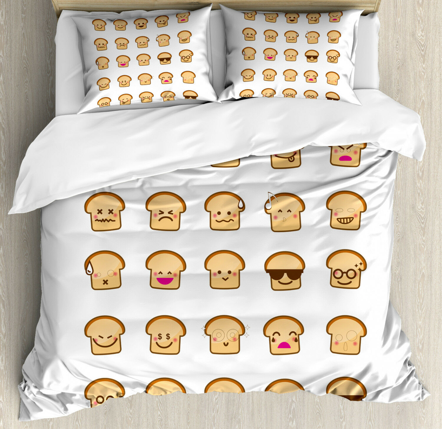 Emoji Duvet Cover Set with Pillow Shams Different Emotions Bread Print