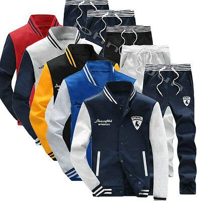 New Mens Fleece Tracksuit Sport Suit Jogging Bottoms Jacket and Pants