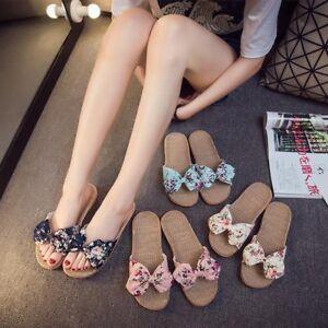 Bow W Flower Print Tie Linen Flat Womens Slippers In Sandals H2IDE9