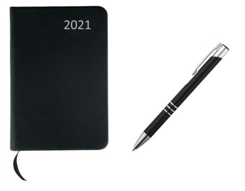Farbe Taschenkalender 2021 schwarz+Metall Kugelschreiber PU Einband ca A7