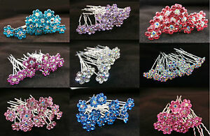 20-x-Stunning-Diamante-Hair-Pins-Bridal-Wedding-Available-In-Many-Colors