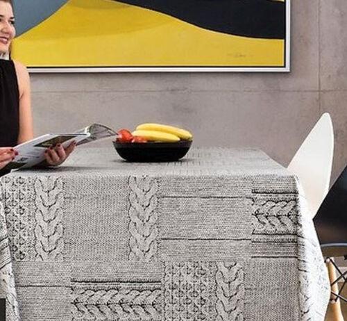 estampé Nettoyage Nappe .140x200cm Gris par wjdhome Knitting Pattern