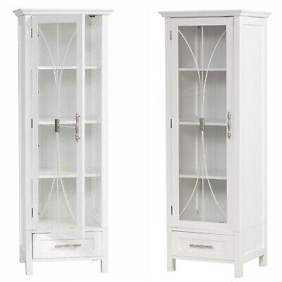 1 Door Bathroom Linen Cabinet Tower Furniture Tall Drawer Shelves White Bath New Ebay