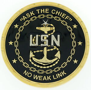 Details about SCPO CHIEF Ask The Chief No Weak Link AMERICAN FLAG BACK US  Navy Challenge Coin