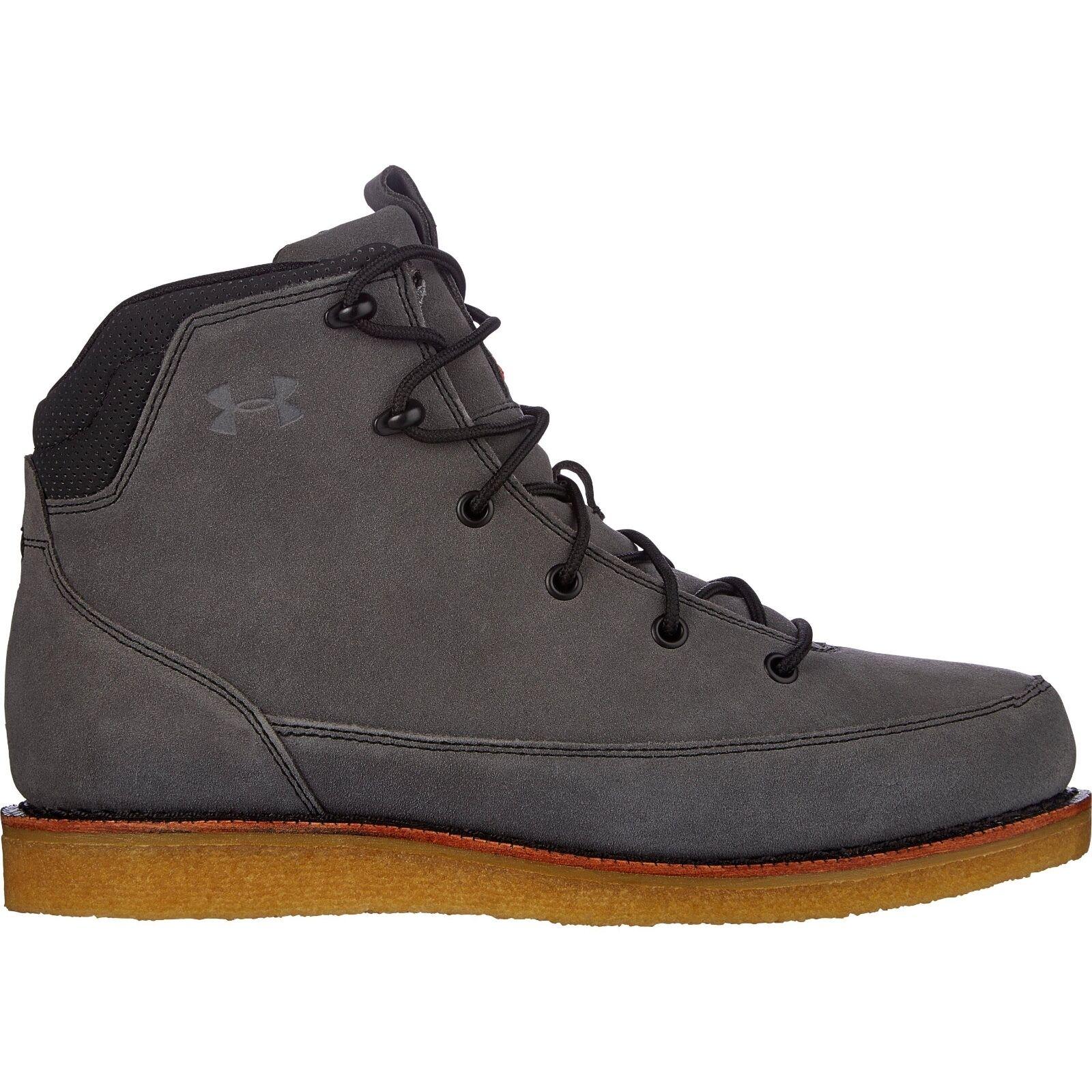 Under Armour Heppner Waterproof Suede Boots Gum Sole Men's Lead brown 160 NEW